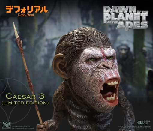 Dawn of the Planet of the Apes Deform Real Series Soft Vinyl Statue Caesar Warrior Face LTD 15 cm