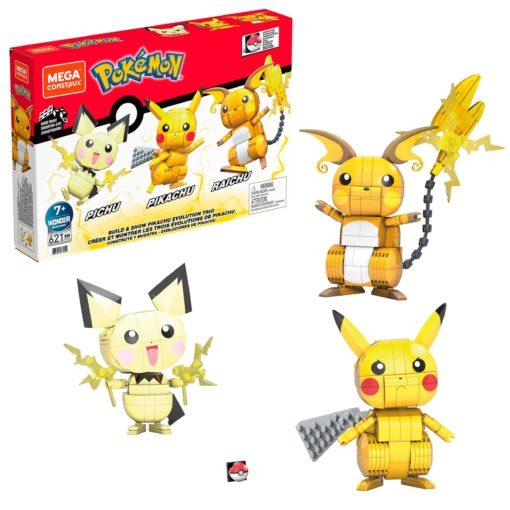 Pokémon Mega Construx Wonder Builders Construction Set Pikachu Evolution Trio 13 cm