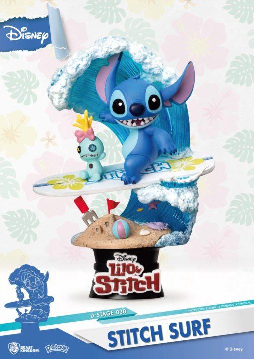 Disney Summer Series D-Stage PVC Diorama Stitch Surf 15 cm